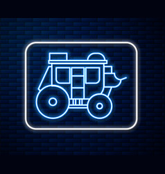 glowing neon line western stagecoach icon isolated vector image