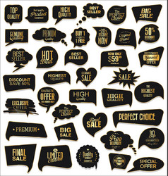 Gold and black sale speech bubbles on white vector