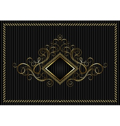 Golden square frame with calligraphic design vector image vector image