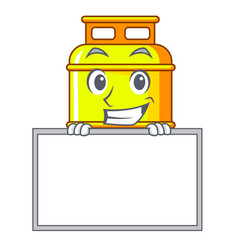 Grinning with board flammable gas tank on cartoon vector