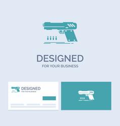 gun handgun pistol shooter weapon business logo vector image