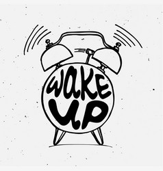 hand draw alarm clock with lettering vector image