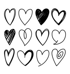 Hand drawn sketched heart shapes vector
