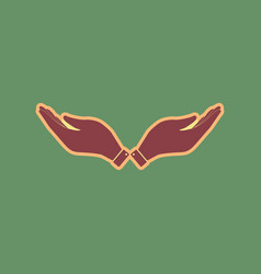 Hand sign cordovan icon and vector
