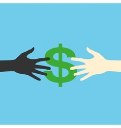 Hands and money print eps vector image