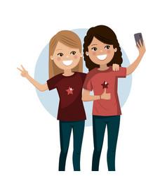 Happy friends taking a selfie pretty girls are vector
