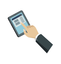 human hand with tablet computer isometric icon vector image