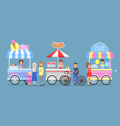 ice cream hotdog and candy cotton boothes icons vector image