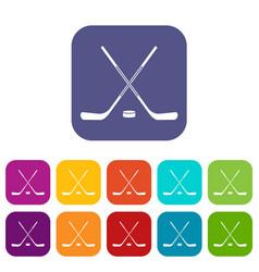 Ice hockey sticks icons set flat vector