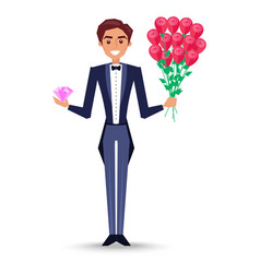 Joyful man in jacket with bow-tie holding bouquet vector