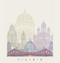 Kolkata skyline poster vector
