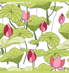 Lily pads and flowers pattern seamless vector