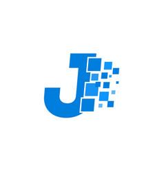 logo letter j blue blocks cubes vector image
