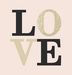 love composition of black and gold glitter letters vector image
