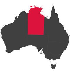 Map of australia - northern territory vector