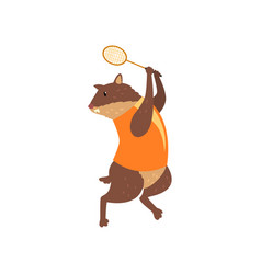 marmot on sport uniform playing badminton funny vector image