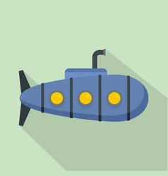 nautical submarine icon flat style vector image