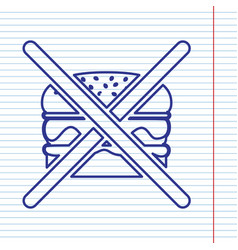 no burger sign navy line icon on notebook vector image