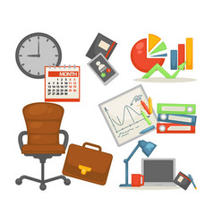 office chair and items business and finance vector image