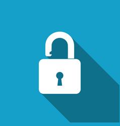 open padlock icon with long shadow lock symbol vector image