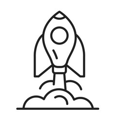 outline raising rocket ship with fire smoke icon vector image