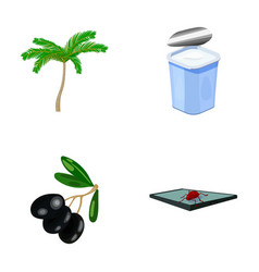 Palma garbage can and other web icon in cartoon vector
