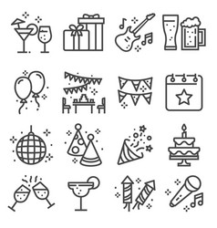 party birthday celebration line web icons set vector image