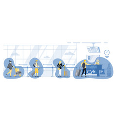 people keep social distancing in queue at airport vector image