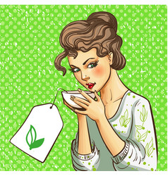 Pop art of woman with cup of vector