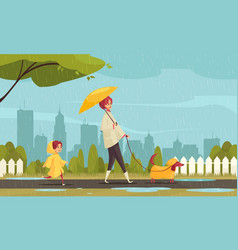 rainy weather city composition vector image