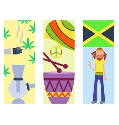 Rastafarian cannabis peace ganja icons set in flat vector