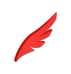 Red simple wing icon isometric 3d style vector image