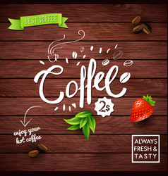 rustic best offer coffee poster on wood vector image