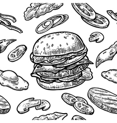 Seamless pattern burger include cutlet tomato vector