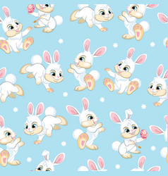 seamless pattern white bunnies on blue background vector image