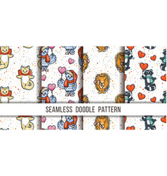set cutest animal seamless patterns cartoon vector image