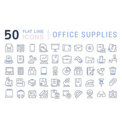 Set line icons office supplies vector