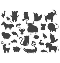 Set of cartoon animal pet and wild beasts vector