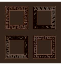 Set of four square meander frames vector