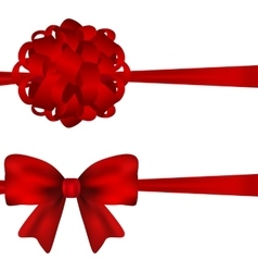 set red bows on a white background vector image