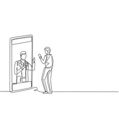 single one line drawing male patient holding vector image