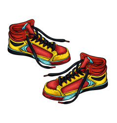 sneakers red-yellow vector image