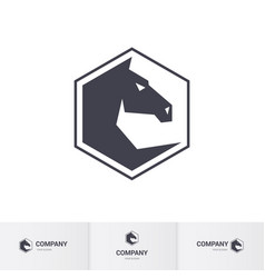 stylized dark horse head for mascot logo template vector image