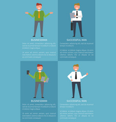 successful businessman set of colorful posters vector image