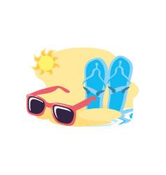 Summer sunglasses in beach with flip flops vector
