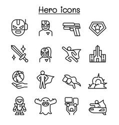 Super hero icon set in thin line style vector