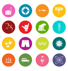 surfing icons many colors set vector image