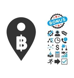 Thai Baht Map Marker Flat Icon with Bonus vector image