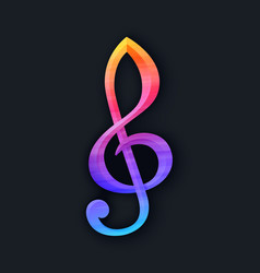 Treble clef in flat style on black background vector