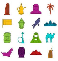 Uae travel icons doodle set vector